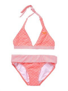MHT7Girls 7- 4 Doll Face Dot 70s Halter Set With Cups Swimsuit by Roxy - FRT1