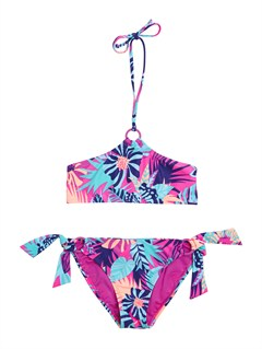 BGD7Girls 7- 4 Doll Face Dot Drawstring Bandeau Set Swimsuit by Roxy - FRT1