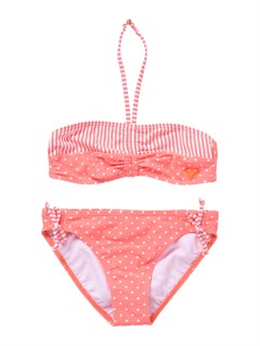 MHT7Girls 7- 4 Doll Face Dot Drawstring Bandeau Set Swimsuit by Roxy - FRT1