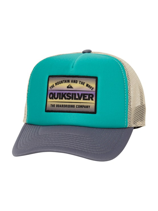 BLK0Please Hold Trucker Hat by Quiksilver - FRT1